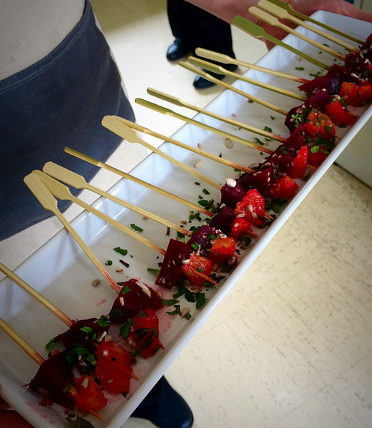 Beetroot and orange canapé skewers