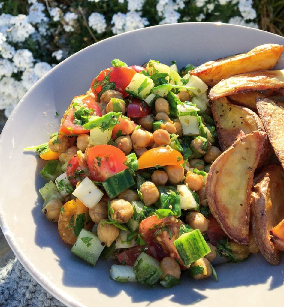 Roasted chickpea, cucumber and tomato salad